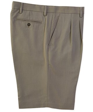 Cutter & Buck Big and Tall Pleated Twill Microfiber Shorts (46 Long, Oyster)