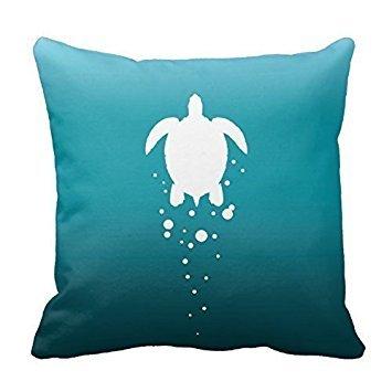 Sea Turtle Amp Bubbles Against Blue-Green Ocean Throw PillowsCustomized Square Custom Throw Pillow Case Cushion Cover Pillowcase Pillow Cover 18x18 (Sea Green Throw Pillows)