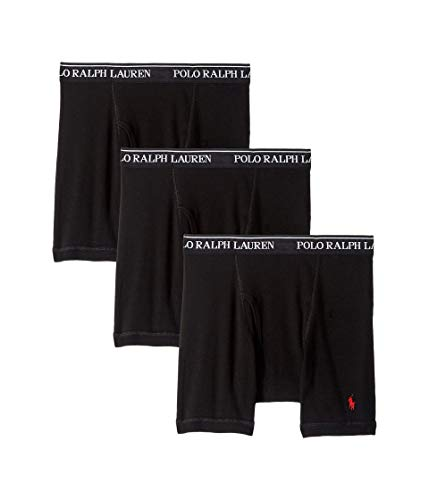 Polo Ralph Lauren Classic Fit Boxer Briefs with Moisture Wicking, 100% Cotton - 3 Pack (L, 3Black) (Lauren Polo Boxer Ralph)