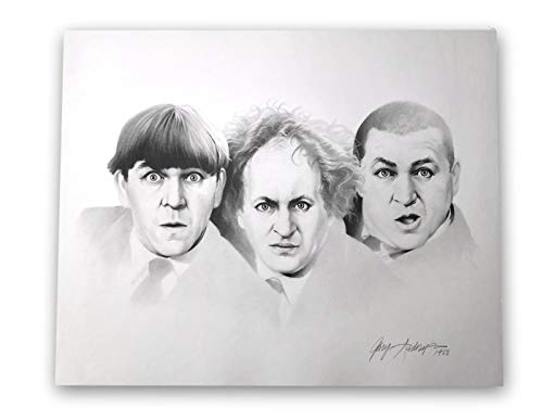 THREE (3) STOOGES 20X24 LITHOGRAPH BY ARTIST GARY SADERUP SIGNED POSTER PHOTO from Inscriptagraphs