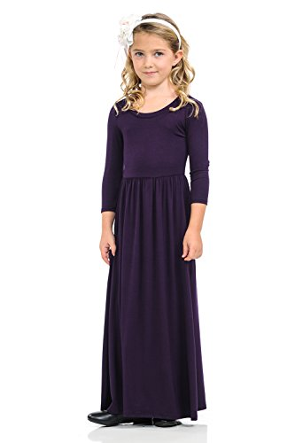 Pastel by Vivienne Honey Vanilla Girls' Fit and Flare Maxi Dress with Easy Removable Label Small 5-6 Years Eggplant