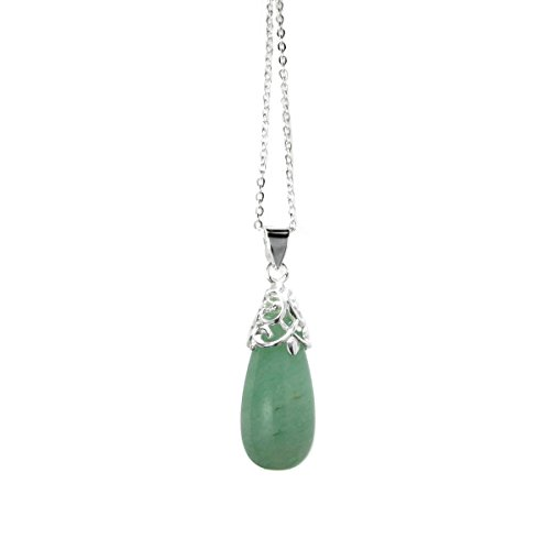 Sterling Silver Natural Aventurine Teardrop Pendant Chain Necklace, 16