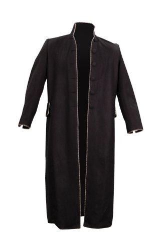 Ichabod Crane Costume - Steampunk Long Wool Blend Jacket Clockwork Open Coat Medium