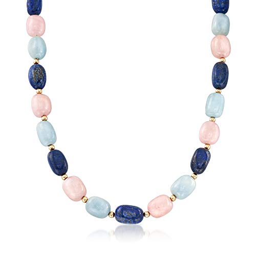 Ross-Simons Pink and Blue Multi-Stone Bead Necklace With 14kt Yellow Gold ()