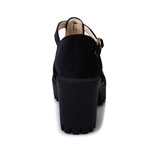 FANIMILA Mujer Moda Correa En T Heels Bombas Zapatos Tacon Ancho Plataforma Zapatos negro