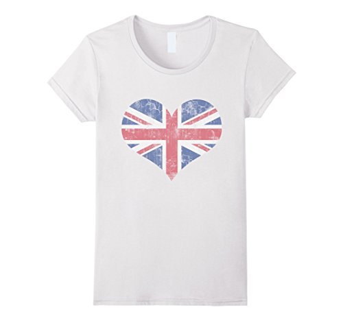 Women's Vintage Heart Flag of United Kingdom Union Jack Love Shirt Medium White (United Kingdom Shirt compare prices)