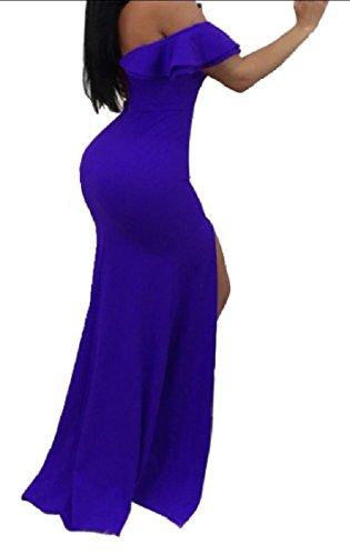 Line Front Sleeve Ruffled Split Cross Women's A Slit Wrap Dress Blue Dress Off Jaycargogo Short Maxi Shoulder 6n1qzORO
