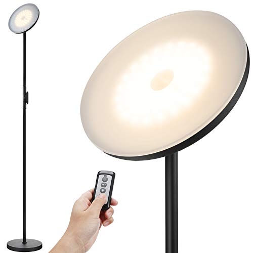 JOOFO Floor Lamp,30W/2400LM Sky LED Modern Torchiere 3 Color Temperatures Super Bright Floor Lamps-Tall Standing Pole Light with Remote &Touch Control for Living Room,Bed Room,Office(Black) (Lamps Small Modern)