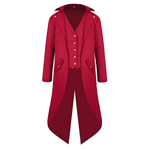 Men's Steampunk Vintage Red Tailcoat Jacket Gothic Victorian Medieval Halloween Costume -