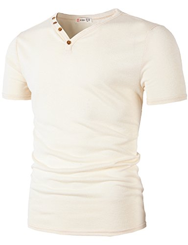 H2H Mens Fashion Casual Slim Fit Designed Button Neck-line T-Shirt White US 3XL/Asia 4XL -