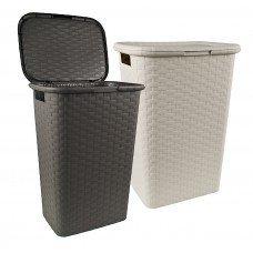 Wäschesammler Design wäschekorb in flecht optik kunstoff 43x33x60cm farbig sortiert