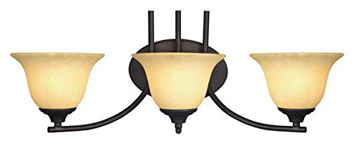 Westinghouse 6222200 Kings Canyon Three-Light Interior Wall Fixture, Oil Rubbed Bronze Finish with Burnt Scavo Glass by Westinghouse