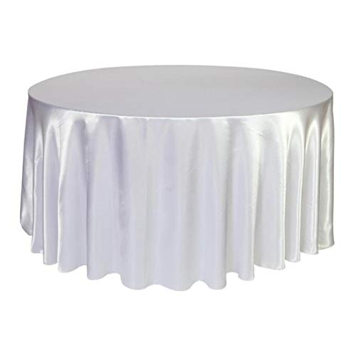 HCTX Round Tablecloth 120 inch - White Satin Fabric Table Cover for Kitchen Dinning Table Cloth Wedding Dinner Party Decoration Circular/Oval