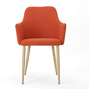 Christopher Knight Home Zeila Mid-Century Modern Fabric Dining Chair with Wood Finished Metal Legs, 2-Pcs Set, Muted…