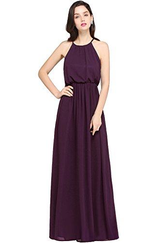 Babyonlinedress Women's Halter Solid Sleeveless Long Gown Dress, Grape Purple, 8