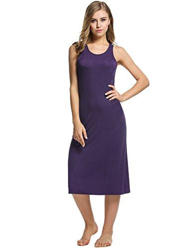 Stretch Cotton Sleepshirt (Avidlove Womens Cotton Gown Sleeveless Nightshirt Sleepwear Racerback Bodycon Dress,Dark Violet,Large)