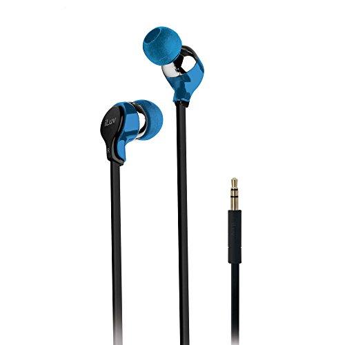 iLuv iEP314BLU Ergonomic and Comfort Flat-Wire Earphones - Blue