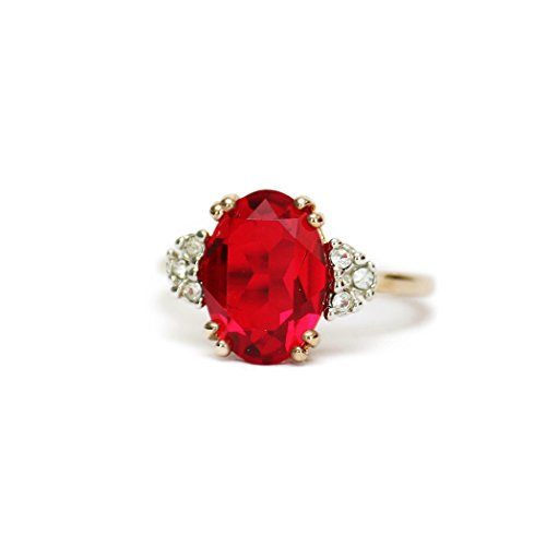 (Providence Vintage Jewelry Ruby & Clear Swarovski Crystals 18k Yellow Gold Electroplated Cocktail Ring)