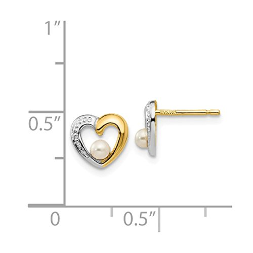 ICE CARATS 14k Yellow Gold Freshwater Cultured Pearl Heart Post Stud Ball Button Earrings Love Fine Jewelry Ideal Mothers Day Gifts For Mom Women Gift Set From Heart by ICE CARATS (Image #4)