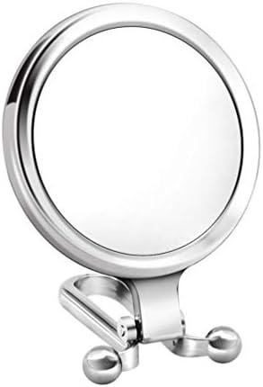 Lurrose Vergrotingsmakeupspiegel 10voudige vergroting opvouwbare reisspiegel draagbaar ronde klapspiegel voor thuisreissalon zilverkleurig