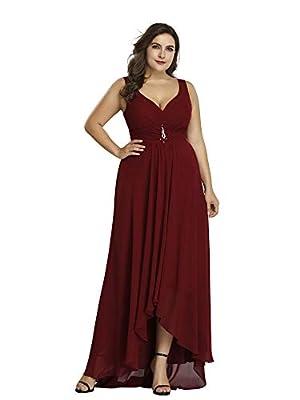 Ever-Pretty Women's V-Neck Hi-Lo Wedding Party Bridesmaid Dresses Plus Size 9983PZ