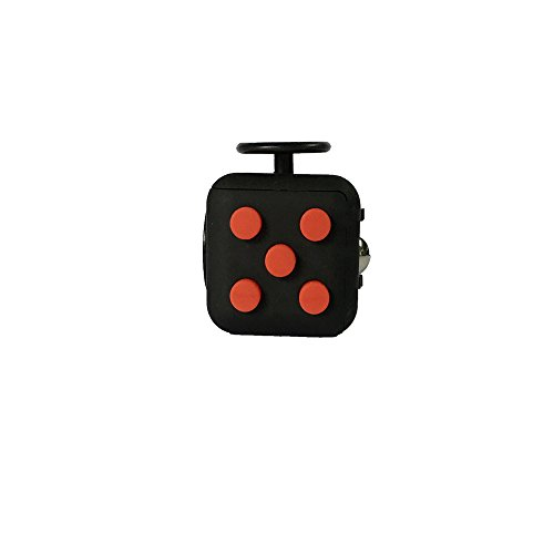 Fidget Cube Ceavis Creative 6 Sides Dice Anti-anxiety and Depression Toys For Girl Boys Children Adults Christmas Gifts (Fidget Cube, Black-Red)