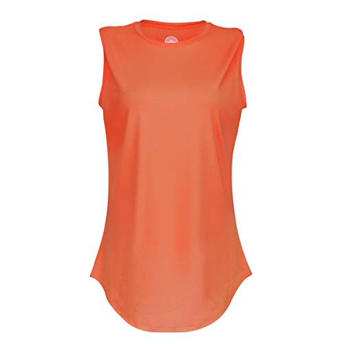 INNER ACTIVE Women's Sleeveless Tank Top with Raw Edge Curved Hem (Hot Coral, ()