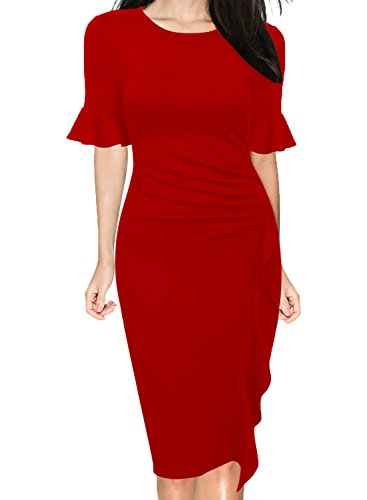 WOOSUNZE Women's Business Retro Ruffles Bell Sleeve Slim Cocktail Pencil Dress (Red, XX-Large) (Red Dress Suit)