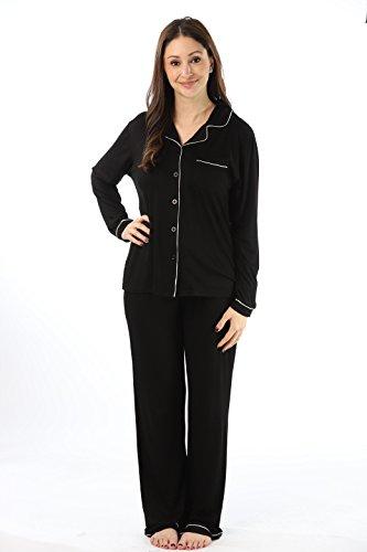 followme-Button-Down-Pajama-Pant-Set-With-Notch-Collar