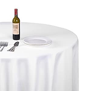 EMART Round Tablecloth, 70 inch Diameter White 100% Polyester Banquet Wedding Party Picnic Circle Table Cloths (6 Pack)