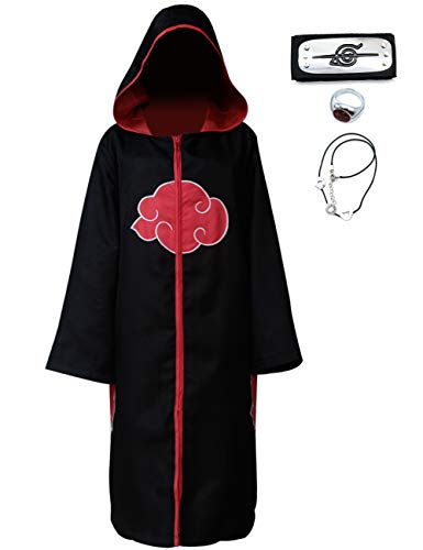 Angelaicos Unisex Halloween Cosplay Costume Uniform Black Cloak with Headband (M, Hoodie Cloak)