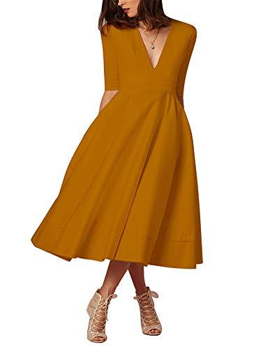 Donna Vestiti Lunghi Da Matrimonio Elegante Collo V Vestito A Pieghe Abito Maxi Damigella Sera Cerimonia Giallo Orange