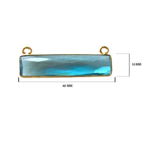 2 Pcs Blue Topaz Rectangle Beads 10X40mm 24K gold vermeil by BESTINBEADS, Blue Topaz Hydro Quartz Rectangle Pendant Bezel Gemstone Connectors over 925 sterling silver bezel jewelry making - Quartz Pendant Rectangle