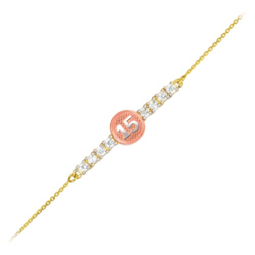 14k Tri-Color Sweet 15 Anos Quinceanera Gold CZ Bar Bracelet 7'' With 0.5'' Extension by Quinceanera Jewelry