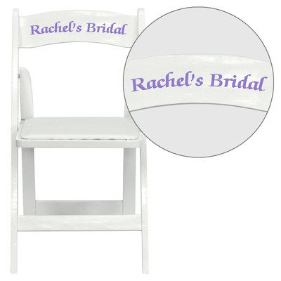 Personalized HERCULES Series White Wood Folding Chair with V