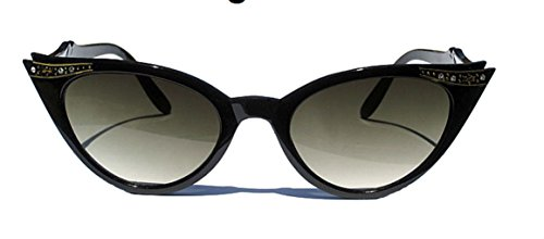 WebDeals - Cateye or High Pointed Eyeglasses or Sunglasses Vintage Inspired Fashion (Black Cat-eye Shades)