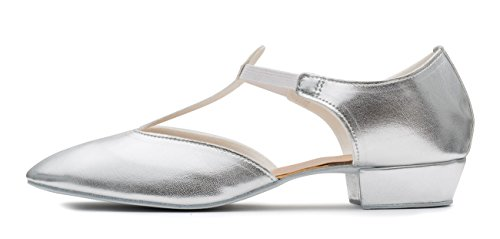 Katz Dancewear Ladies Black Pink Or White Greek Sandal Dance Teaching Jive Salsa Cerco Shoes by (Size 4, Silver Metallic PU)