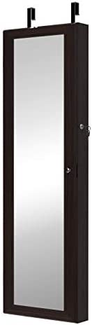 DlandHome Jewelry Armoire Organizer Wall or Door Mounted Hanging Jewelry Cabinet with Light Full Length Mirror