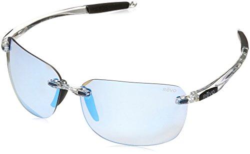 Cheap Revo Unisex RE 1070XL Descend Oversized Rectangular Polarized Sunglasses, Crystal Frame, Blue Water Lens