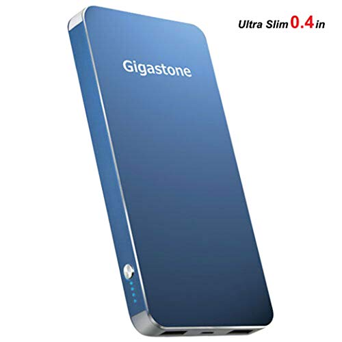 (Gigastone Ultra Slim 10000mAh Power Bank Dual Outputs 5V/2.4A Max Stylish Metal Frame LED Indicator Over Current Protection Battery Portable Charger for iPhone XS Max iPad Galaxy Android)