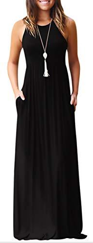 (KORSIS Women's Summer Casual Loose Sleeveless Racerback Long Maxi Swing Dresses Pockets Black XL)