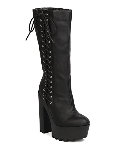 [Women Leatherette Block Heel Boot - Cosplay, Costume, Sexy - Lace Up Boot - GC92 By Wild Diva - Black (Size:] (Kiddie Costume For Sale)