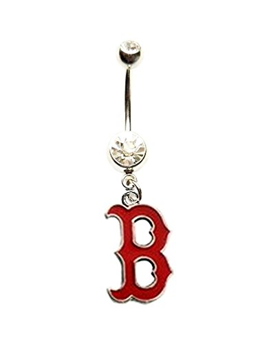 Boston Red Sox Body - BOSTON RED SOX BASEBALL TEAM Clear Navel Belly Button Ring Body Jewelry Piercing 14 Gauge