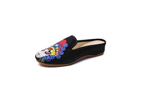 Tela Zapatos Yi de Zapatillas Chino Tsing de Hua Black Estilo Bordados Dan Bordados Zapatos de Verano gEgwqnaH