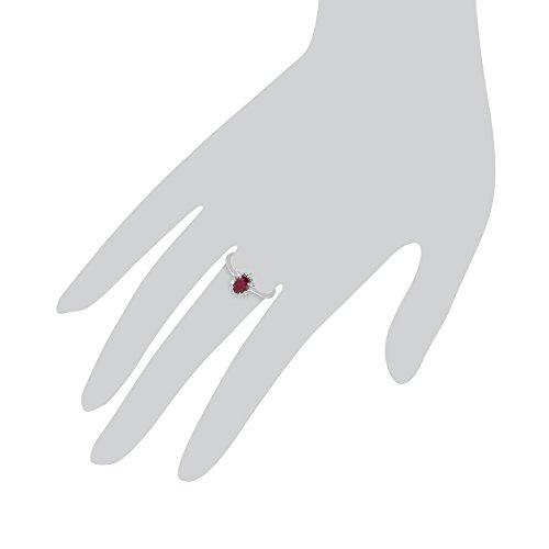 Gemondo Bague Rubis, 9ct Or Blanc 0,63 Ct Rubis & Diamant Ovale Bague Grappe