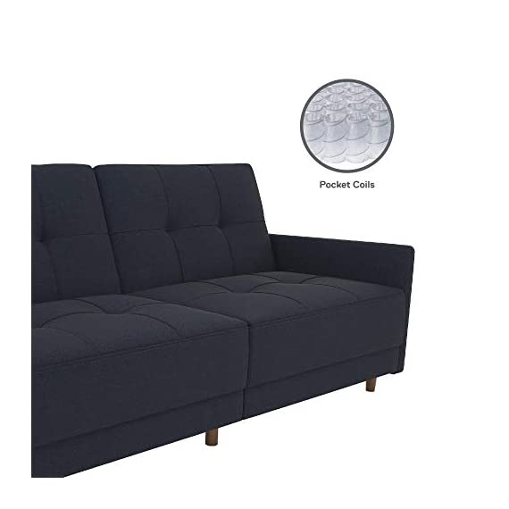 DHP Andora Coil Futon Sofa Bed Couch with Mid Century Modern Design - Navy Blue Linen - Mid-Century Modern design with tufted seat and back cushions and wooden legs. Seat is made with independently encased coils providing additional comfort. Includes center legs for additional support. - sofas-couches, living-room-furniture, living-room - 31DtQsQx gL. SS570  -