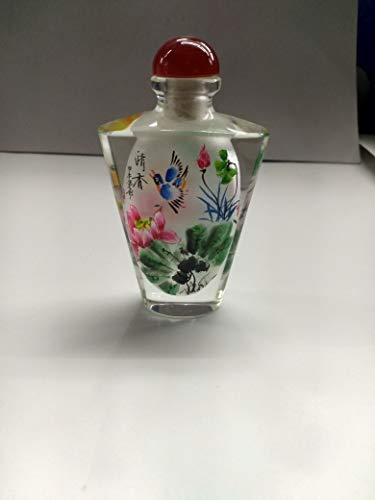 Lynnmed Beautiful Home Decoration Inside Painted Snuff Bottle with giftbox and Spoon Chinese Gifts Chinese Style Traditional Hand-Painted Home Decoration Blue Bird ()