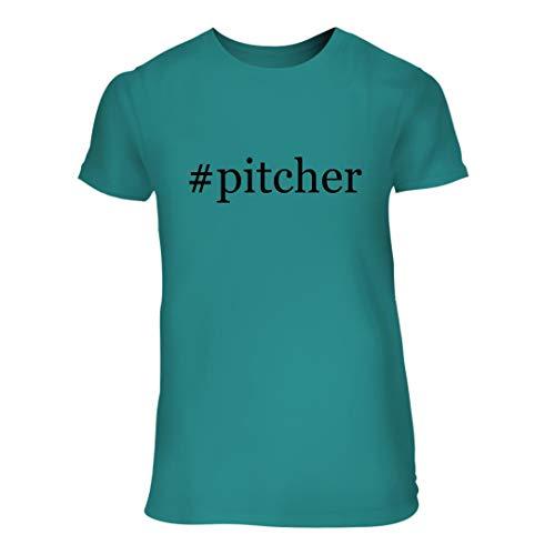 #Pitcher - A Nice Hashtag Junior Cut Women's Short Sleeve T-Shirt, Aqua, Large