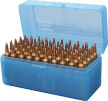MTM 50 Round Flip-Top Rifle Ammo Box Large Mag (Clear Blue)