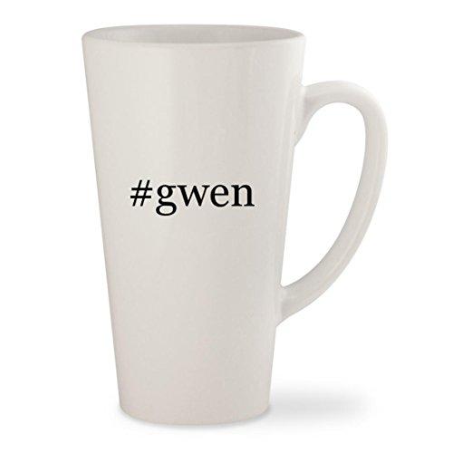 #gwen - White Hashtag 17oz Ceramic Latte Mug Cup